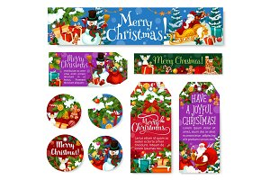 Christmas decoration holiday vector posters tags