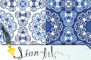 Seamless blue color floral patterns.