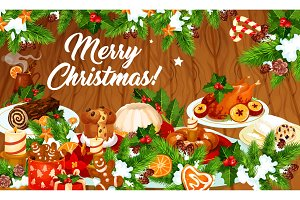 Christmas dinner banner with winter holiday dishes