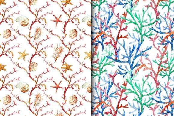 Watercolor sealife pattern set vol.1