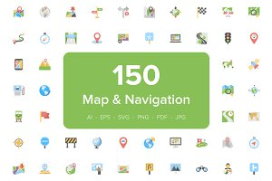 150 Map and Navigation Flat Icons