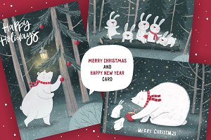 Christmas cards character cute bear