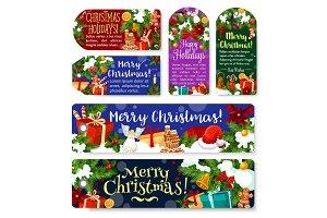 Christmas holidays vector greeting gift tags