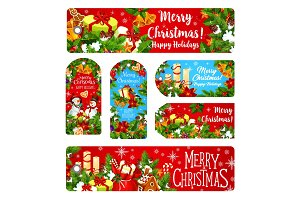 Merry Christmas wish vector greeting banner card