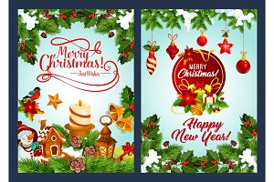 Merry Christmas and New Year winter holiday poster