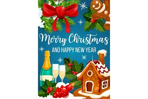 Christmas cookie and New Year wreath greeting card