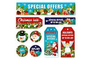Christmas decorations sale vector shop tags