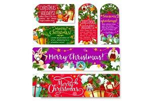 Christmas tag and banner of winter holiday season