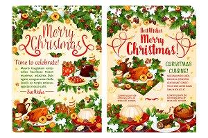 Christmas dinner festive banner of winter holidays