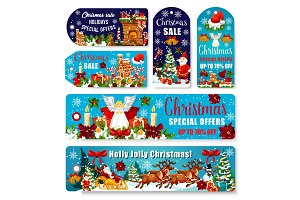 Christmas sale shop dicount vector tags banners