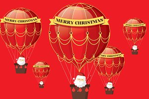 christmas hot air balloon greetings