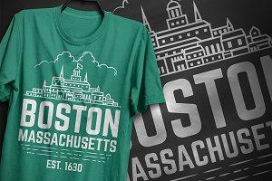 Boston Massachusetts T-Shirt Design