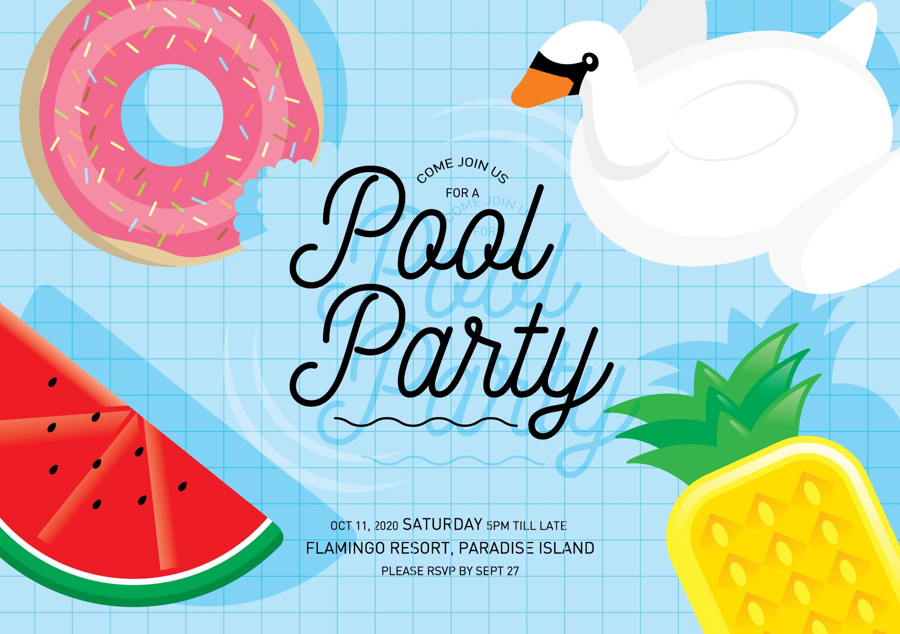 Pool party invitation card template illustrations for Pool design graphic