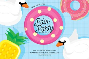 pool party invitation card template