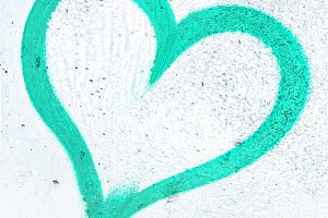 Turquoise grunge heart