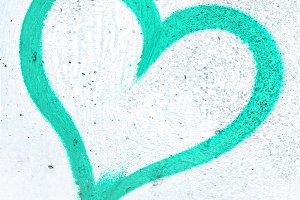 Turquoise grunge heart