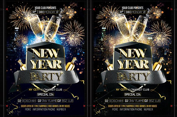 new year flyer template flyer templates creative market