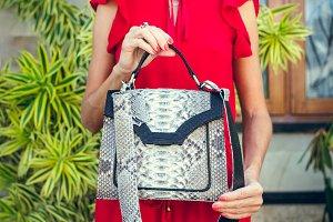 Closeup woman hands with fashion luxury snakeskin python handbag. Outdoors, Bali island.