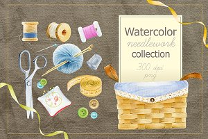 Watercolor needlework collection