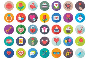 150 Flat Love and Valentine Icons