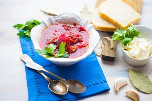 Traditional ukrainian beet soup - re