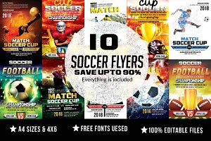 10 Soccer Match Flyer Bundle