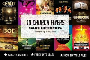 10 Church Flyer Bundle