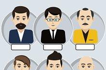 Set of stylish avatars man icons