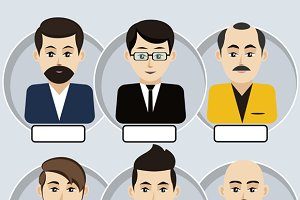 Set of stylish avatars man icons