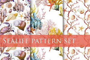 Watercolor sealife pattern set vol.1