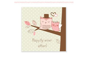 Two lovely Owls card, png + eps