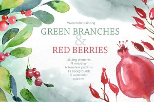 Watercolor branches and berries