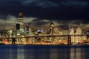 San Francisco Skyline Holiday Lights
