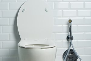 Modern clean white toilet seat