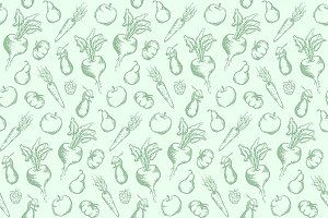 Vegetable fruit seamless pattern
