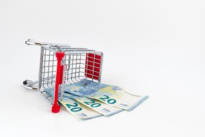 Shopping cart with euro banknotes