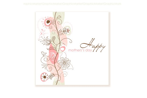 Floral hand drawn mothers day card card templates creative market floral hand drawn mothers day card cards maxwellsz