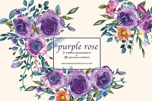 Hand Painted Watercolor Purple Rose