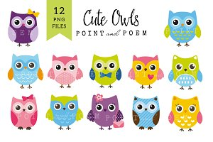 50% Off Cute Owls Clip art