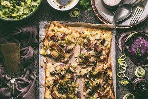 Vegetarian tart , savory pie