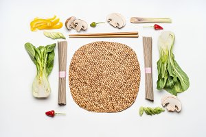 Asian cuisine ingredients on white