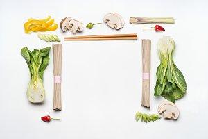 Asian food creative layout frame