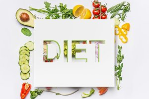 Salad ingredients and text diet