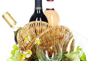 wine, grape and Picnic basket