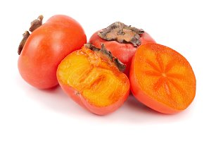 Persimmon fruit isolated on white background close-up