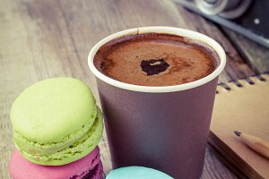Macaroons, coffee and camera
