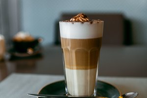 Latte with caramel syrup.