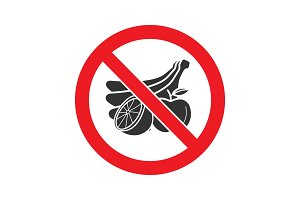 Forbidden sign with fruit glyph icon
