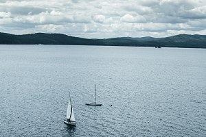Two boats on the Turgoyak lake.