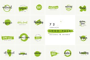 Organic, natural and vegan badges